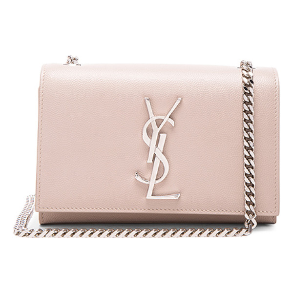 SAINT LAURENT Small Monogramme Chain Bag - Pebbled calfskin leather with grosgrain lining and