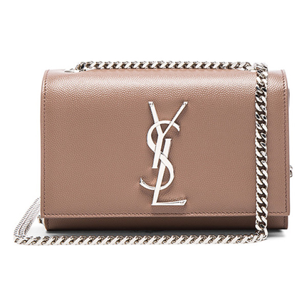 SAINT LAURENT Small Monogramme Kate Chain Bag - Pebbled calfskin leather with grosgrain lining and...