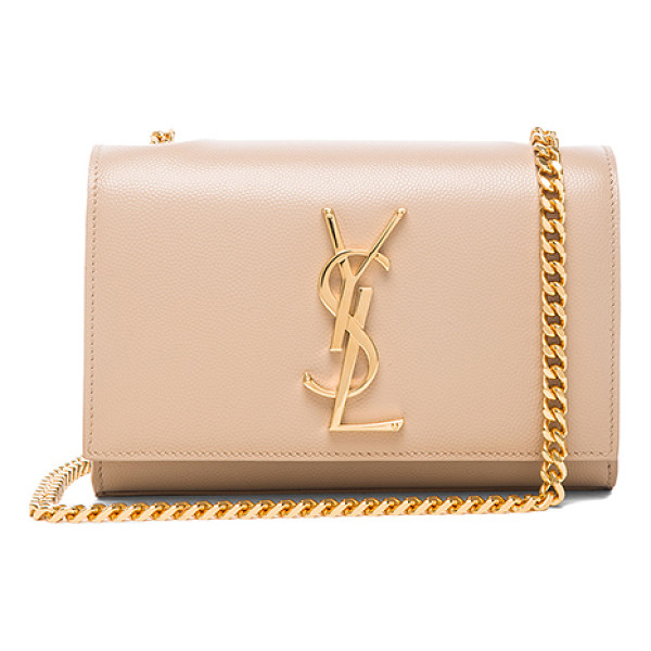 SAINT LAURENT Small monogram chain bag - Pebbled calfskin leather with grosgrain lining and...