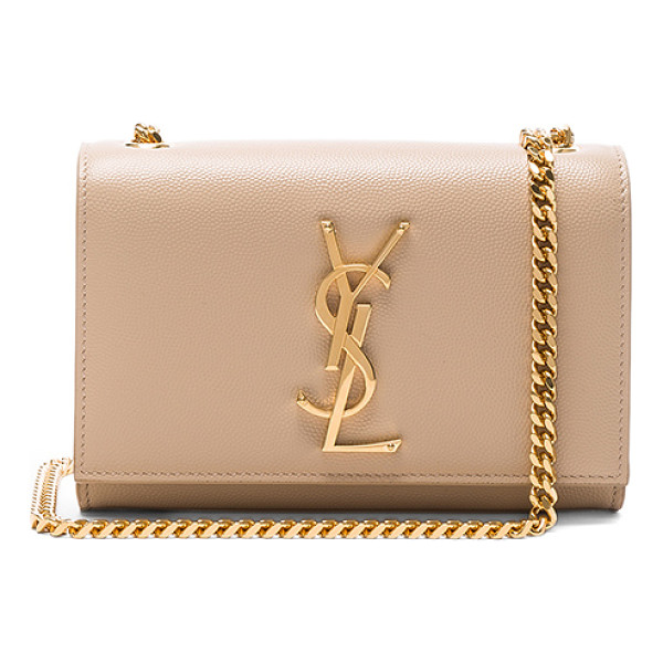 SAINT LAURENT Small Monogramme Chain Bag - Pebbled calfskin leather with grosgrain lining and...