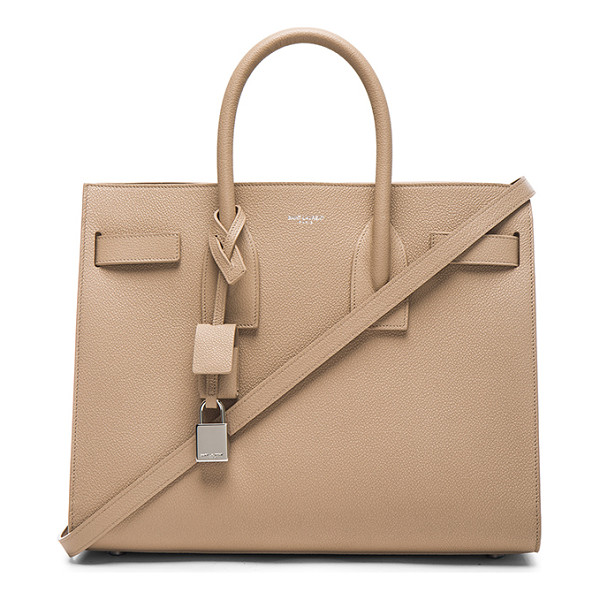 SAINT LAURENT Small sac de jour - Pebbled calfskin leather with bonded smooth leather lining...