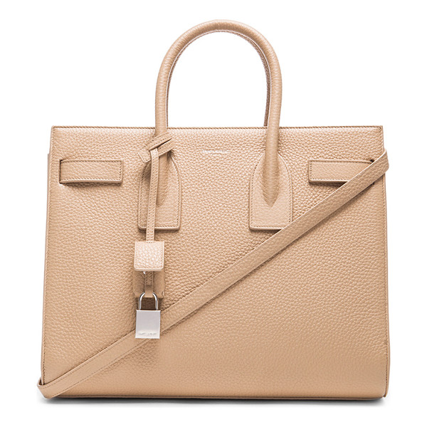 SAINT LAURENT Small sac de jour carryall bag - Pebbled calfskin leather with grosgrain lining and...