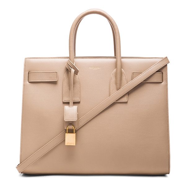 SAINT LAURENT Small sac de jour carryall bag - Smooth calfskin leather with suede lining and gold-tone...