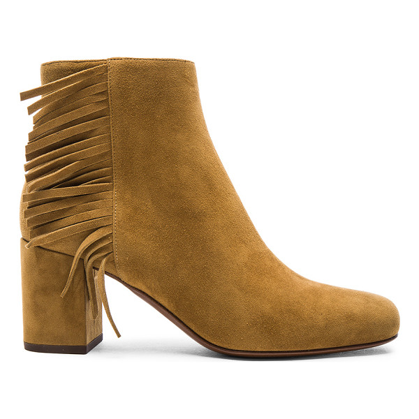 SAINT LAURENT Suede Babies Fringe Zip Boots - Suede upper with leather sole.  Made in Italy.  Approx