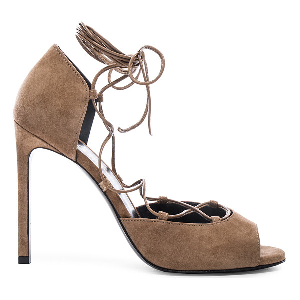 SAINT LAURENT Suede Kate Lace Up Heels - Suede upper with leather sole.  Made in Italy.  Approx...