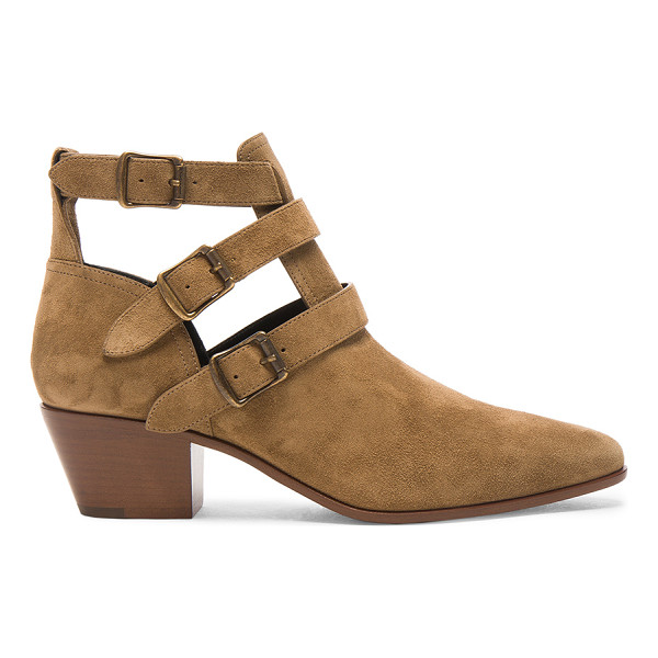 SAINT LAURENT Suede Rock Boots - Suede upper with leather sole.  Made in Italy.  Approx...