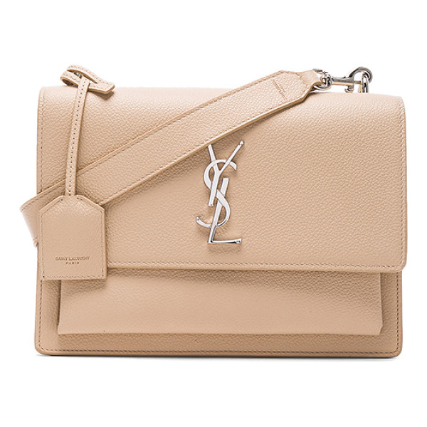 SAINT LAURENT Sunset Medium Monogramme Chain Bag - Grained calfskin leather with suede lining and silver-tone