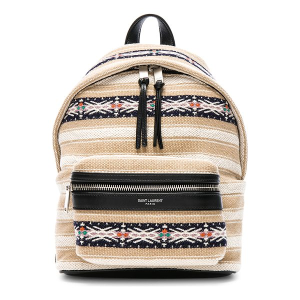 "SAINT LAURENT Toy Canvas & Leather Ikat Strap City Backpack - ""Berber cloth with canvas lining and brushed silver-tone..."