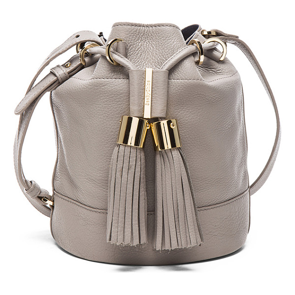 SEE BY CHLOE Tassel crossbody bag - Grained leather with canvas fabric lining and gold-tone...