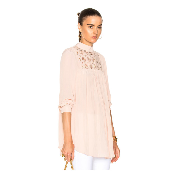 SMYTHE Eyelet Tunic Top - Self: 100% poly - Contrast Fabric: 100% cotton.  Made in...
