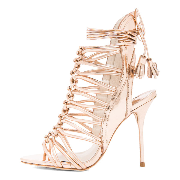 SOPHIA WEBSTER Lacey leather heels - Distressed metallic upper with leather sole.  Made in...