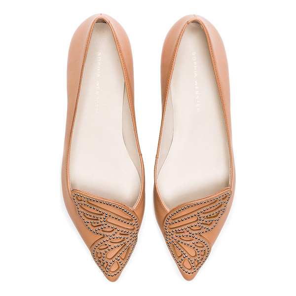 SOPHIA WEBSTER Leather Bibi Stud Butterfly Flats - Leather upper and sole. Made in Brazil. Stud embellished...