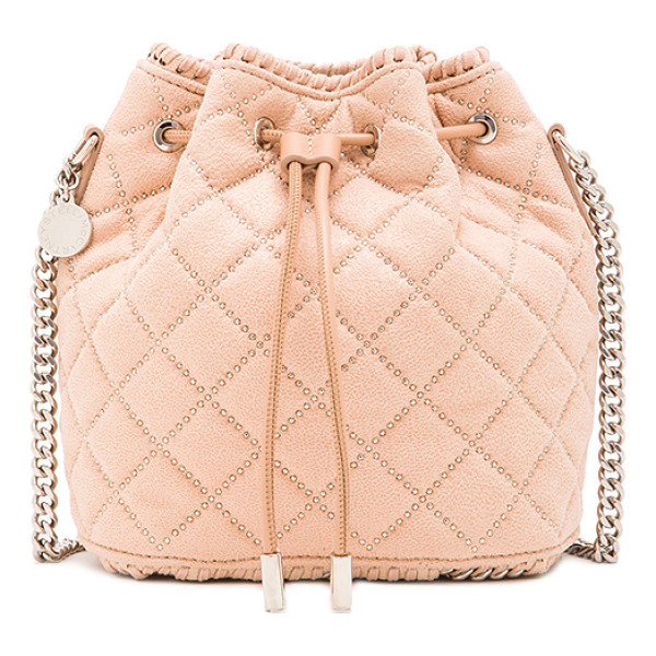 STELLA MCCARTNEY Studded quilted bucket bag - Quilted shaggy deer fabric with signature print poly lining...