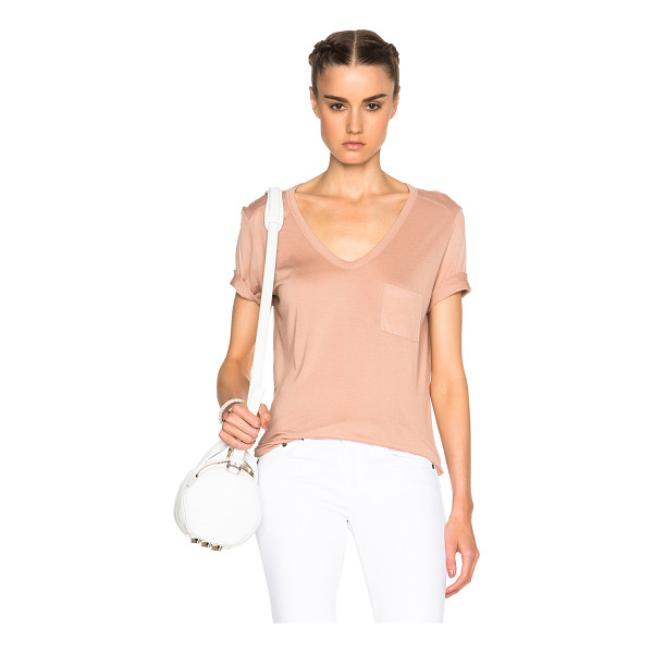 T BY ALEXANDER WANG Classic pocket tee - 100% rayon.  Made in Vietnam.  Breast pocket.