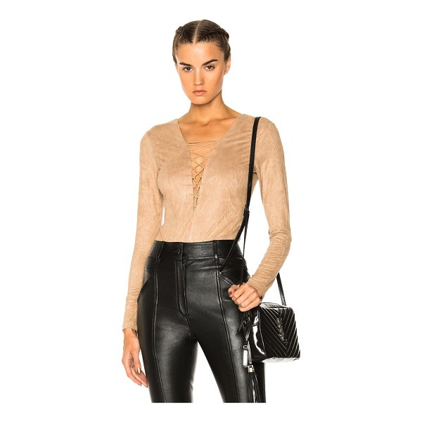 T BY ALEXANDER WANG Faux Suede Lace Up Bodysuit - Self & Lining: 88% poly 12% elastan.  Made in China.  Dry...