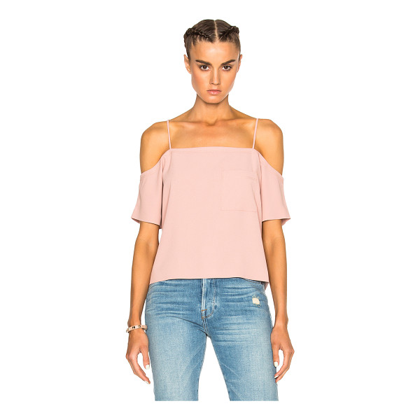 T BY ALEXANDER WANG Off shoulder top - 100% poly.  Made in China.  Dry clean only.  Breast pocket....