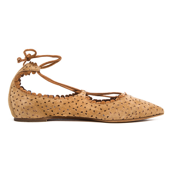 TABITHA SIMMONS Suede willa flats - Perforated suede upper with leather sole.  Made in Italy. ...