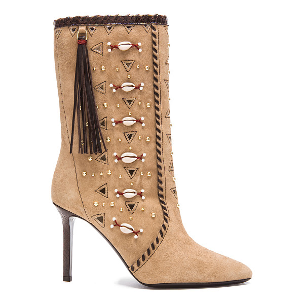 TAMARA MELLON Bohemia suede & elaphe boots - Suede upper with leather sole.  Made in Italy.  Shaft...