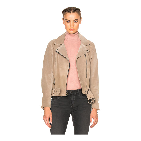 THEPERFEXT London Belted Suede Moto Jacket - Self: 100% calfskin suede - Lining: 55% poly 45% rayon. ...