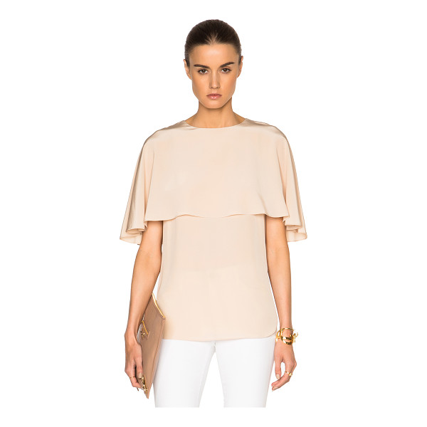 TIBI Cape top - 100% silk.  Made in China.  Fabric overlay along top.  Side...