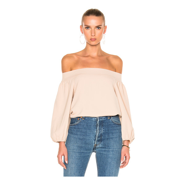 TIBI Twill Off-Shoulder Top - 100% poly.  Made in China.  Dry clean only.