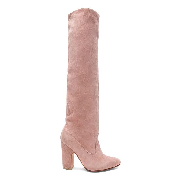 ULLA JOHNSON Suede Sloane Boots - Suede upper with leather sole. Made in Peru. Shaft measures