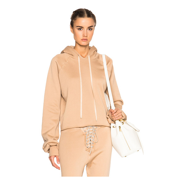 UNRAVEL Fwrd exclusive oversize sleeve cashmere hoodie - 95% cotton 5% cashmere.  Made in USA.  Raw cut hem.  Rib...