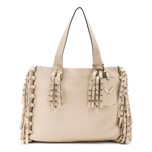 VALENTINO C rockee tote - Grained leather with pale gold-tone hardware and no lining....