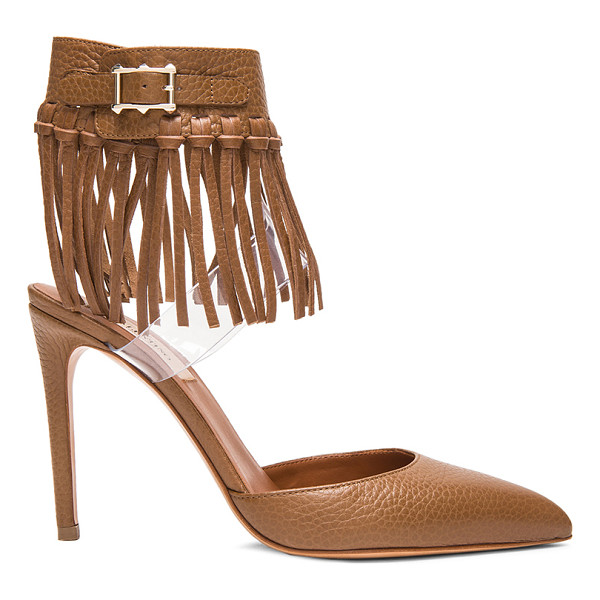 VALENTINO Fringe 100mm leather pumps - Grained leather upper with leather sole.  Made in Italy. ...