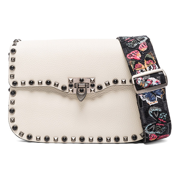 VALENTINO Guitar Rockstud Rolling Shoulder Bag - Grained leather with raw lining and brushed silver-tone...