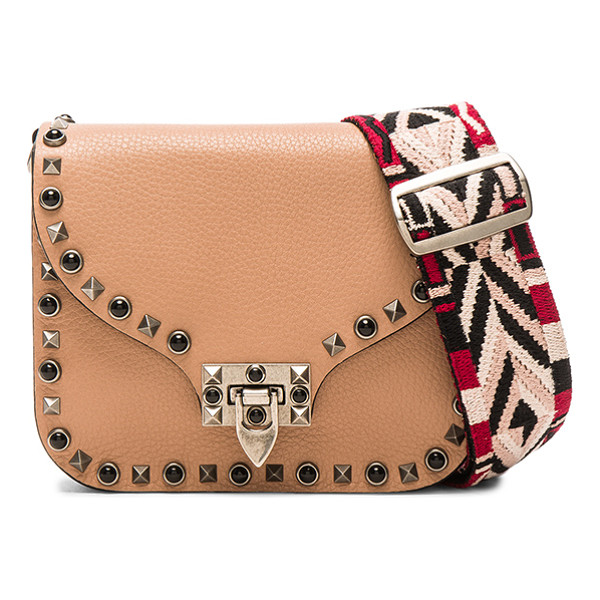 VALENTINO Guitar Rockstud Rolling Shoulder Bag - Grained leather with raw lining and antique hardware.  Made