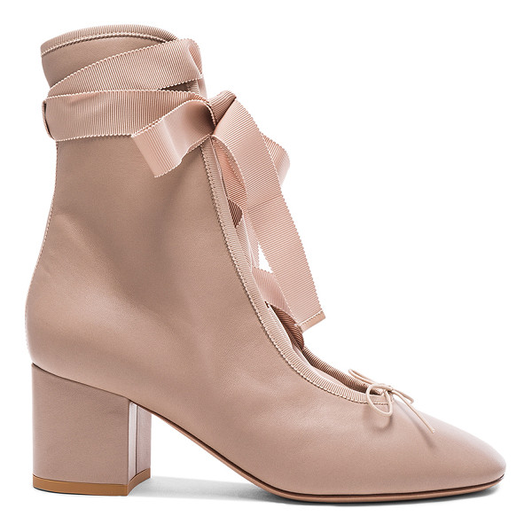 VALENTINO Leather Ballet Booties - Leather upper and sole. Made in Italy. Shaft measures