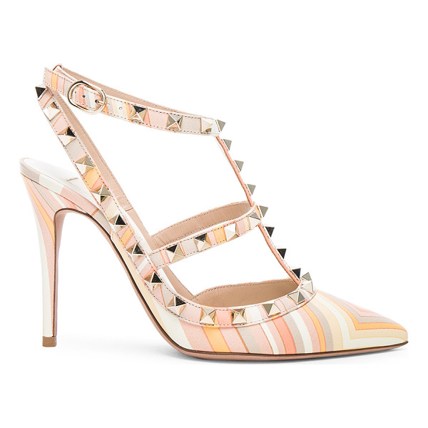 VALENTINO Leather rockstud 1975 heels - Printed leather upper with leather sole.  Made in Italy. ...