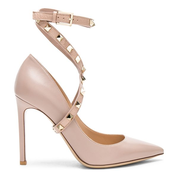 VALENTINO Leather Rockstud Strap Heels - Leather upper and sole.  Made in Italy.  Approx 100mm/ 4...