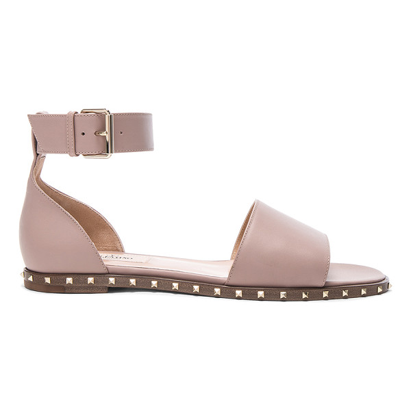 VALENTINO Leather Soul Rockstud Flat Sandals - Leather upper and sole. Made in Italy. Rubber tap heel....