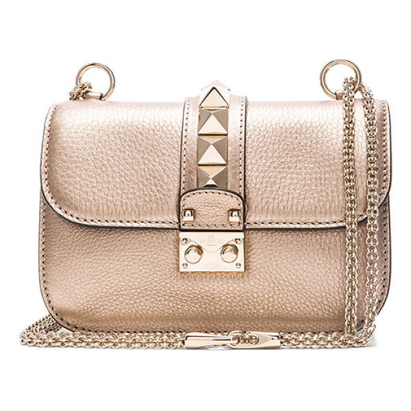 VALENTINO Metallic small lock shoulder bag - Grained metallic leather with raw lining and pale gold-tone...