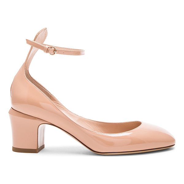 VALENTINO Patent Leather Tan-Go Pumps - Patent leather with leather sole. Made in Italy. Approx