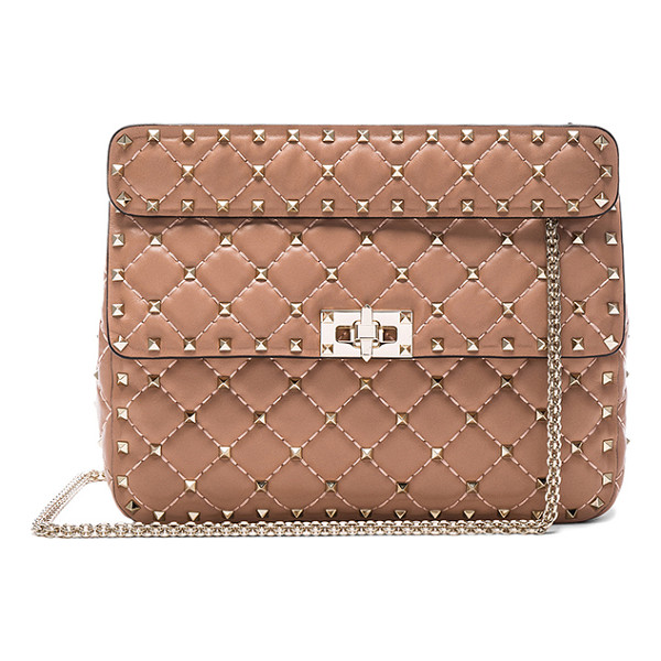 VALENTINO Quilted rockstud medium shoulder bag - Quilted leather with leather lining and pale gold-tone...