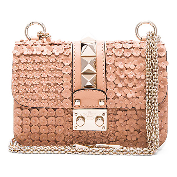 VALENTINO Ricamo garden party mini lock shoulder bag - Genuine leather with suede lining and pale gold-tone...
