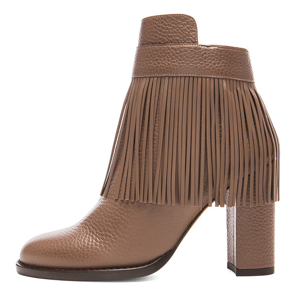 VALENTINO Rockee fringe ankle leather booties - Grained leather upper with leather sole.  Made in Italy. ...