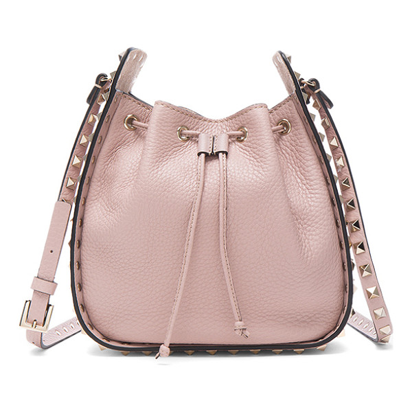 VALENTINO Rockstud Bucket Bag - Genuine grained leather with raw lining and pale gold-tone