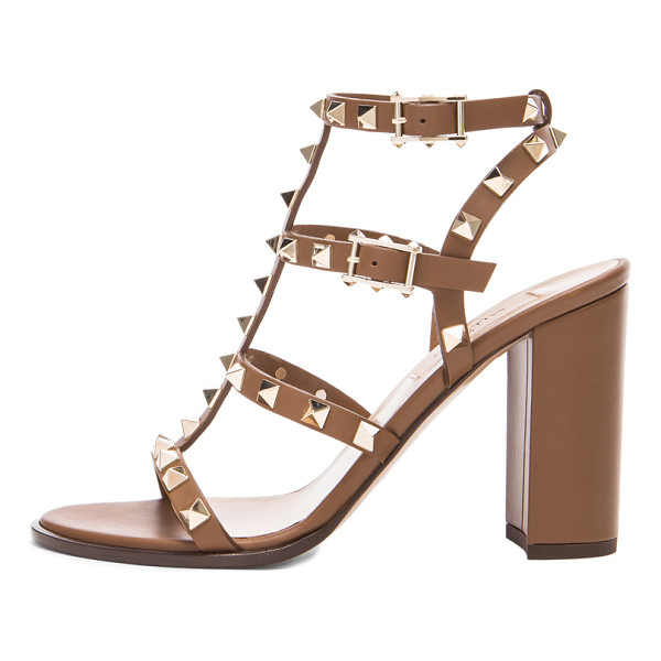 VALENTINO Rockstud chunky leather heels t.90 - Leather upper and sole.  Made in Italy.  Approx 100mm/ 4...