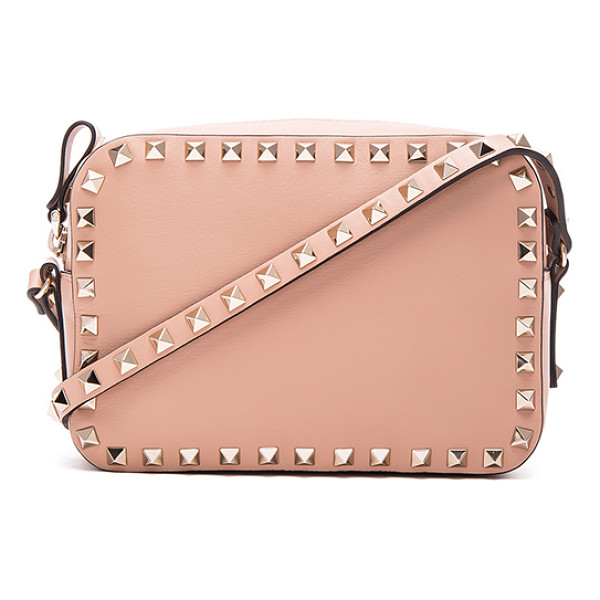 VALENTINO Rockstud crossbody bag - Genuine leather with fabric lining and pale gold-tone...