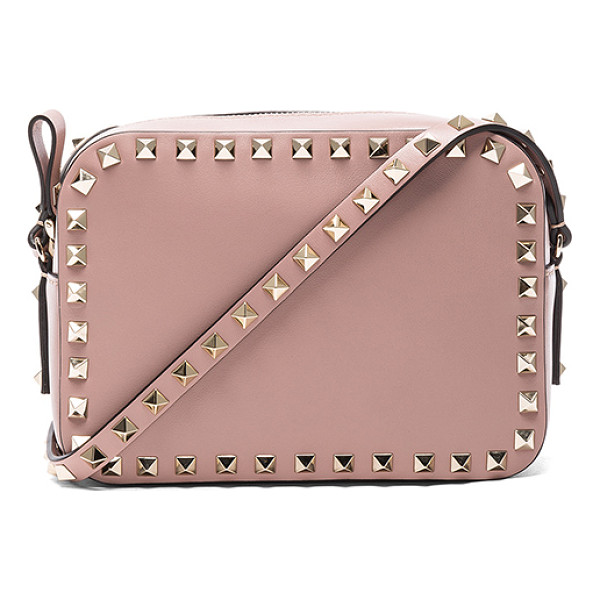 """VALENTINO Rockstud Crossbody Bag - """"Genuine leather with canvas lining and gold-tone hardware...."""