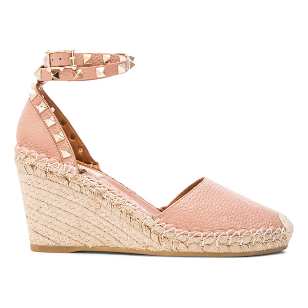 VALENTINO Rockstud Double Wedges - Grained leather upper with rubber sole.  Made in Italy.