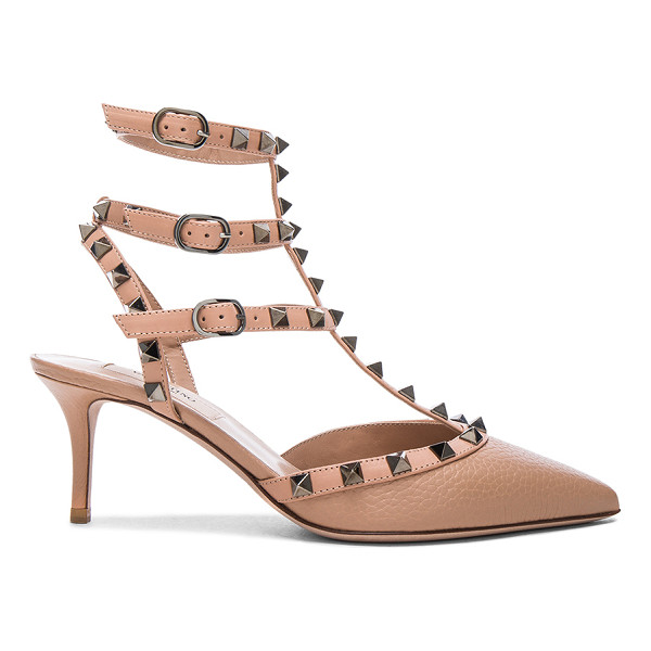 VALENTINO Rockstud Leather Ankle Strap Heels - Leather upper and sole.  Made in Italy.  Approx 65mm/ 2.5