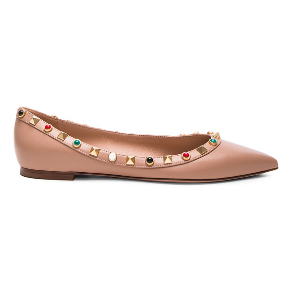 VALENTINO Rockstud Leather Rolling Ballerina Flats - Leather upper and sole.  Made in Italy.  Rubber tap heel. ...