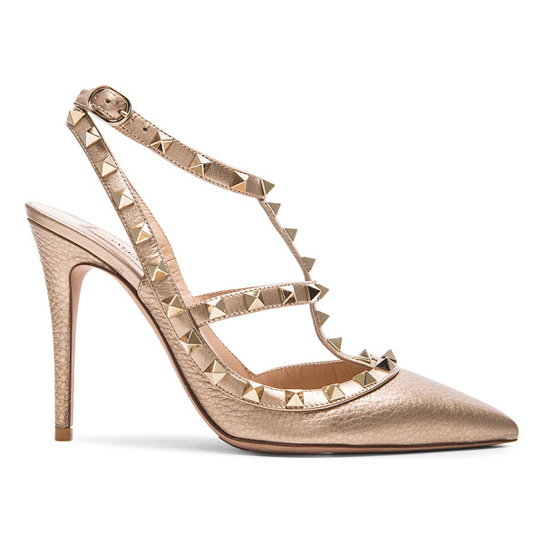 VALENTINO Rockstud leather slingbacks t.100 - Metallic grained leather upper with leather sole.  Made in...