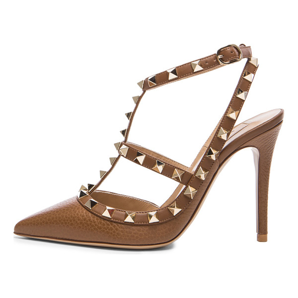VALENTINO Rockstud leather slingbacks t.100 - Grained leather upper with leather sole.  Made in Italy. ...