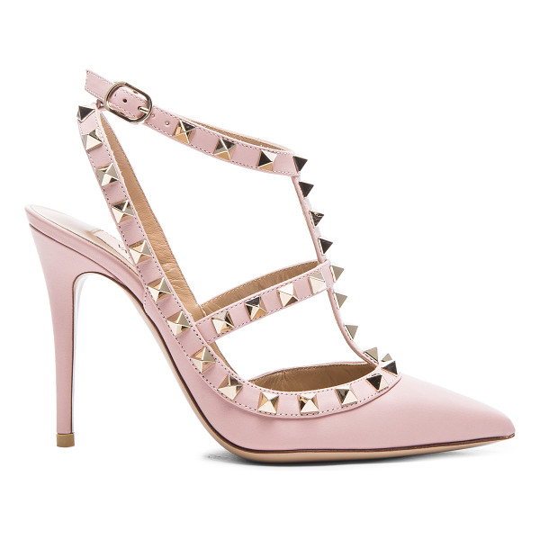 VALENTINO Rockstud leather slingbacks t.100 - Leather upper and sole.  Made in Italy.  Approx 100mm/ 4...